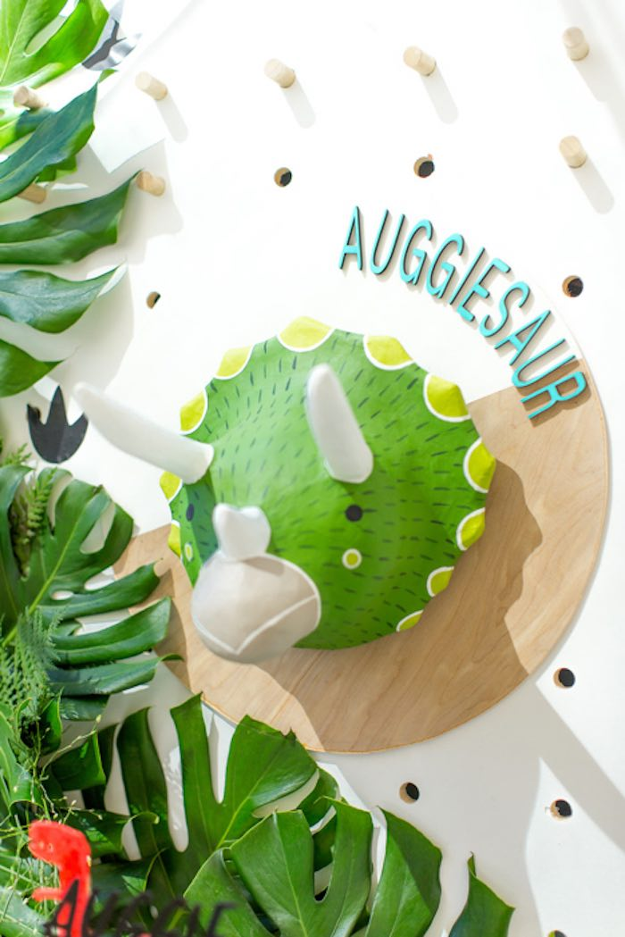 Auggiesaur + Triceratops Head Backdrop from a Dinomite Dinosaur Birthday Party on Kara's Party Ideas | KarasPartyIdeas.com (27)