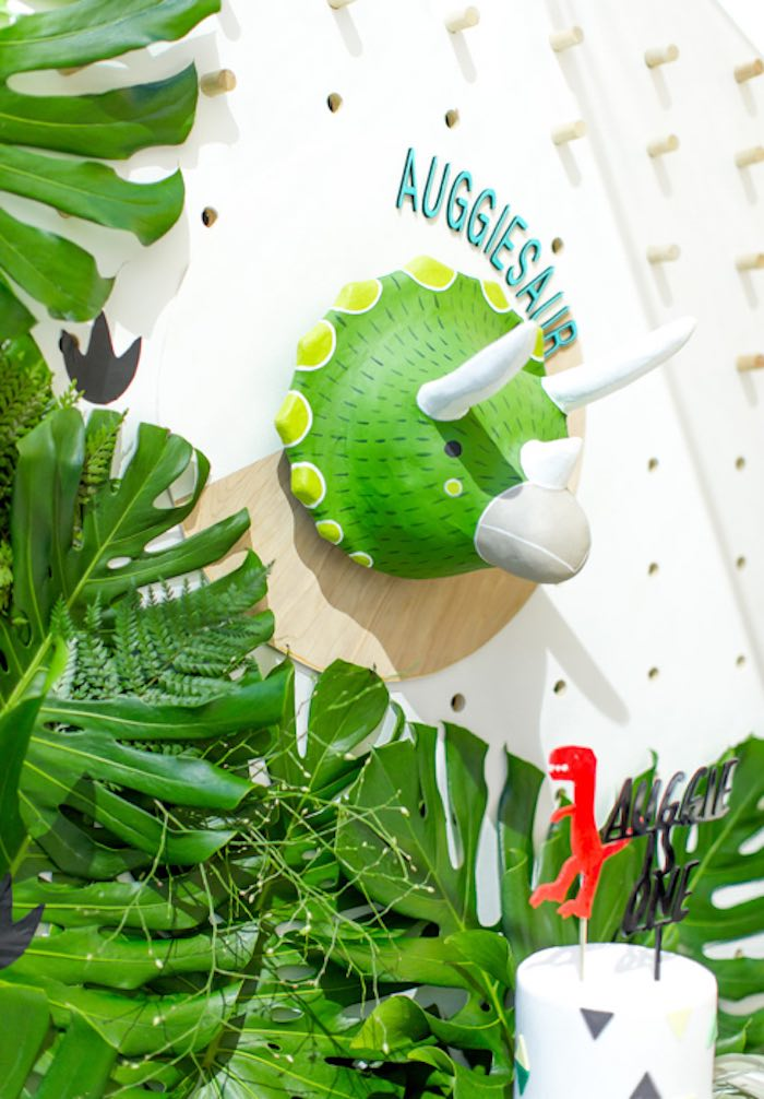Auggiesaur + Triceratops Head Backdrop from a Dinomite Dinosaur Birthday Party on Kara's Party Ideas | KarasPartyIdeas.com (26)