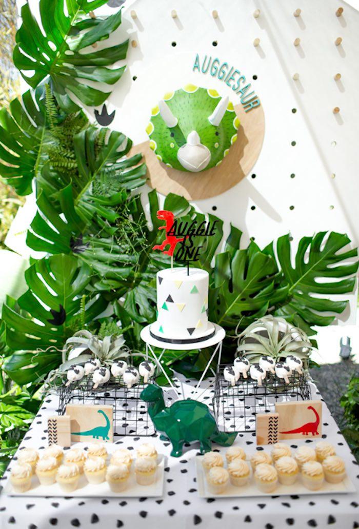 Dinosaur Themed Dessert Table from a Dinomite Dinosaur Birthday Party on Kara's Party Ideas | KarasPartyIdeas.com (25)