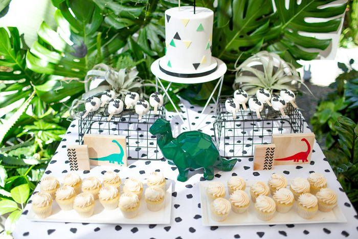 Modern Dinosaur Dessert Table from a Dinomite Dinosaur Birthday Party on Kara's Party Ideas | KarasPartyIdeas.com (24)