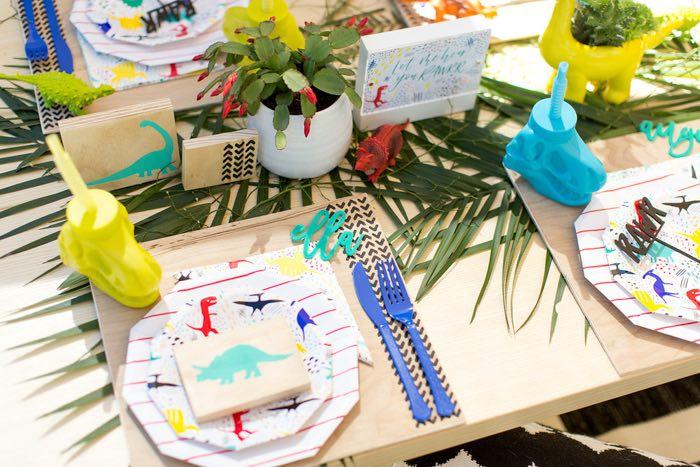 Dinosaur Dining Table from a Dinomite Dinosaur Birthday Party on Kara's Party Ideas | KarasPartyIdeas.com (23)