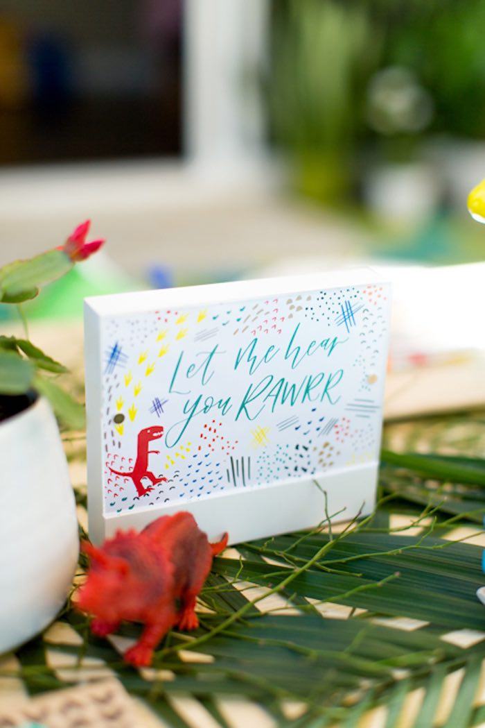 "Modern ""Let me hear you roar"" Block Sign from a Dinomite Dinosaur Birthday Party on Kara's Party Ideas 