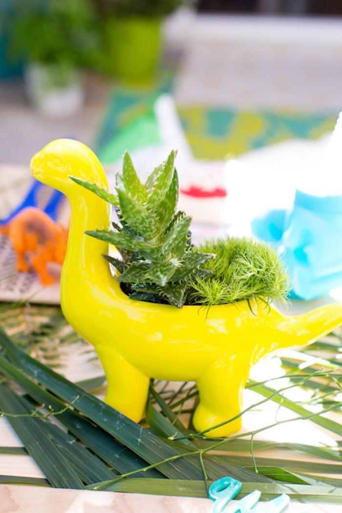 Dinosaur Planter from a Dinomite Dinosaur Birthday Party on Kara's Party Ideas | KarasPartyIdeas.com (21)