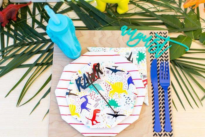 Dino Party Table Setting from a Dinomite Dinosaur Birthday Party on Kara's Party Ideas | KarasPartyIdeas.com (20)