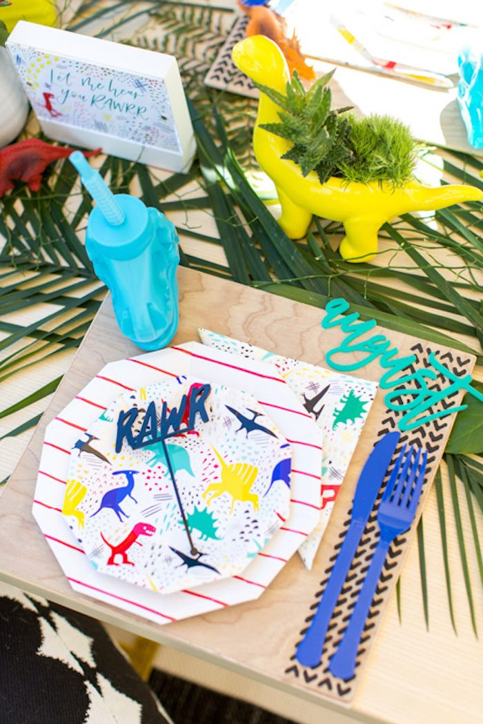 Dino Party Table Setting from a Dinomite Dinosaur Birthday Party on Kara's Party Ideas | KarasPartyIdeas.com (19)