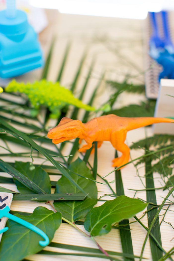 Dinosaur Figurines & Palms - Table Decor from a Dinomite Dinosaur Birthday Party on Kara's Party Ideas | KarasPartyIdeas.com (18)