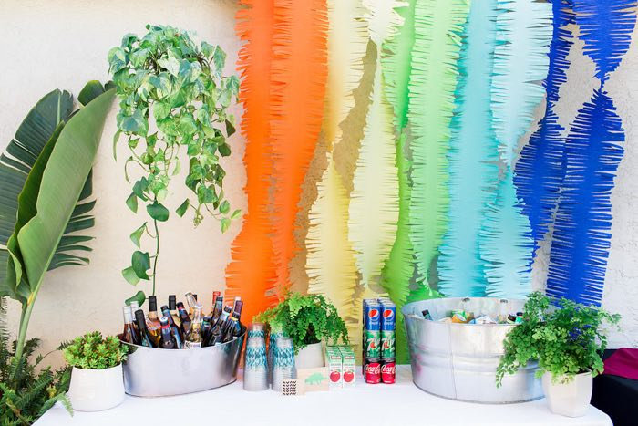 Jungle-inspired Beverage Table from a Dinomite Dinosaur Birthday Party on Kara's Party Ideas | KarasPartyIdeas.com (36)
