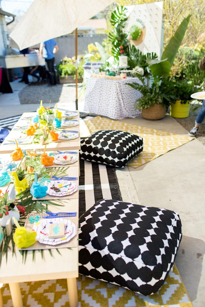 Pillow-seated Dinosaur Party Table from a Dinomite Dinosaur Birthday Party on Kara's Party Ideas | KarasPartyIdeas.com (16)