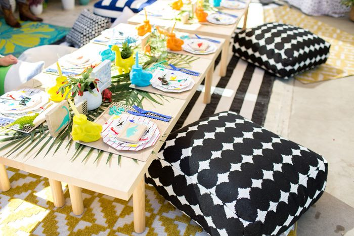 Pillow-seated Dinosaur Party Table from a Dinomite Dinosaur Birthday Party on Kara's Party Ideas | KarasPartyIdeas.com (15)