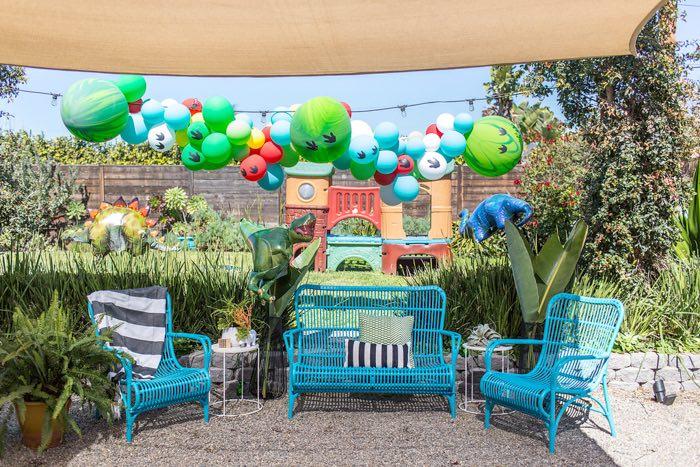 Dinosaur Lounge from a Dinomite Dinosaur Birthday Party on Kara's Party Ideas | KarasPartyIdeas.com (14)