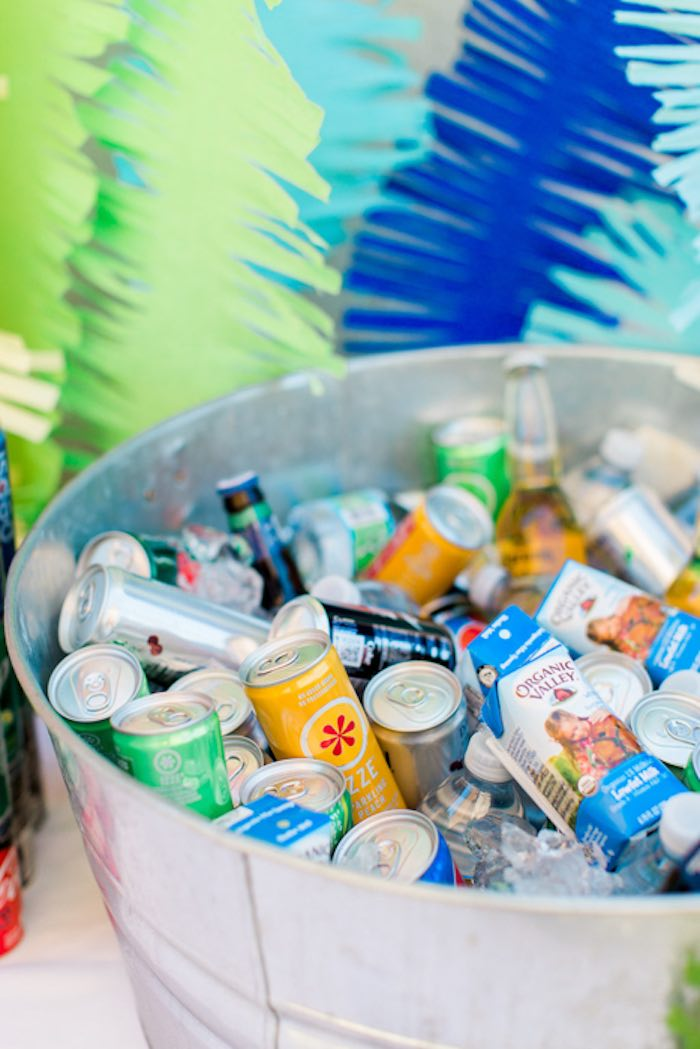Bin of Beverages from a Dinomite Dinosaur Birthday Party on Kara's Party Ideas | KarasPartyIdeas.com (34)