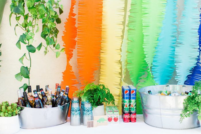 Jungle-inspired Beverage Table from a Dinomite Dinosaur Birthday Party on Kara's Party Ideas | KarasPartyIdeas.com (33)