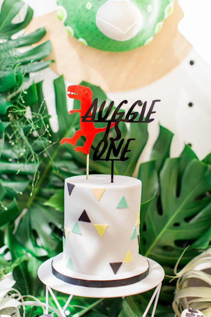 Triangle-adorned Cake with Dinosaur Topper from a Dinomite Dinosaur Birthday Party on Kara's Party Ideas | KarasPartyIdeas.com (32)