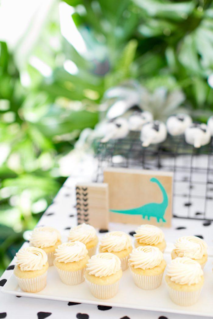 Vanilla Cupcakes from a Dinomite Dinosaur Birthday Party on Kara's Party Ideas | KarasPartyIdeas.com (29)