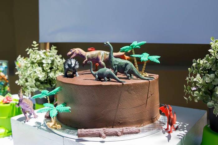 Dinosaur Cake from a Dinosaur Birthday Party on Kara's Party Ideas | KarasPartyIdeas.com (18)