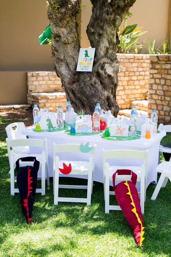 Dinosaur Party Table from a Dinosaur Birthday Party on Kara's Party Ideas | KarasPartyIdeas.com (16)