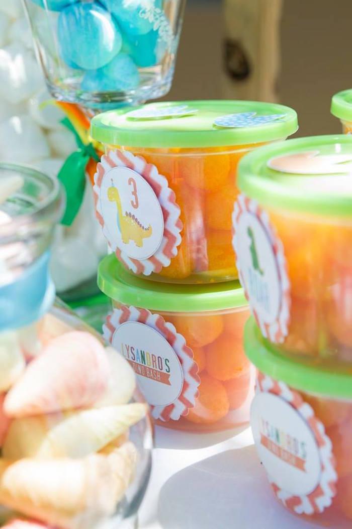 Dinosaur-labeled Snack Cups from a Dinosaur Birthday Party on Kara's Party Ideas | KarasPartyIdeas.com (10)