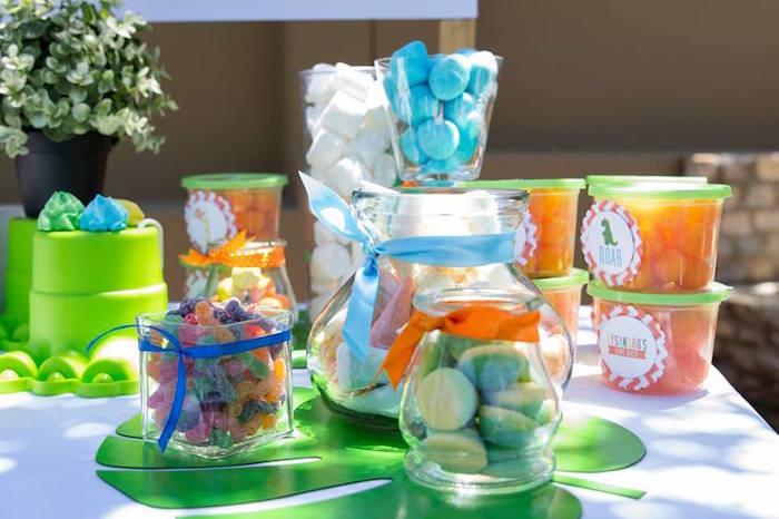 Dinosaur Themed Candy Buffet from a Dinosaur Birthday Party on Kara's Party Ideas | KarasPartyIdeas.com (8)
