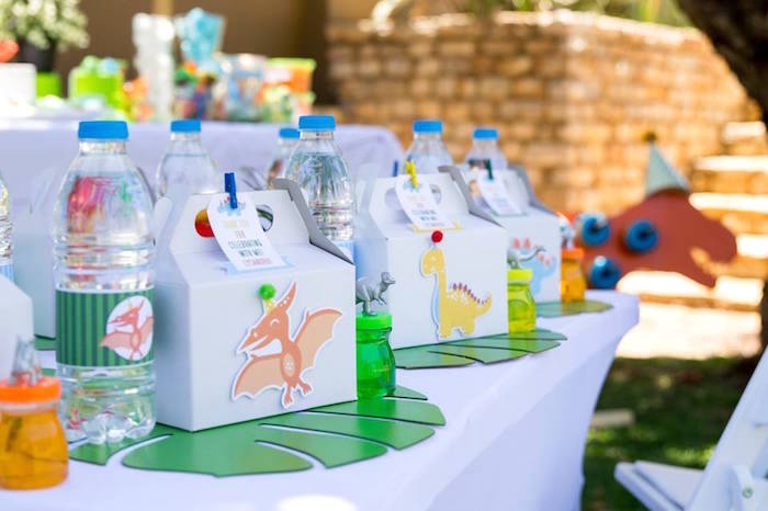 Dinosaur Kid Table + Table Setting from a Dinosaur Birthday Party on Kara's Party Ideas | KarasPartyIdeas.com (6)