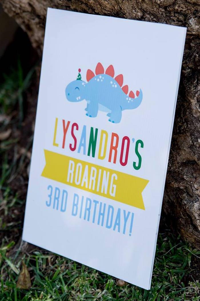 Dinosaur Party Signage from a Dinosaur Birthday Party on Kara's Party Ideas | KarasPartyIdeas.com (5)