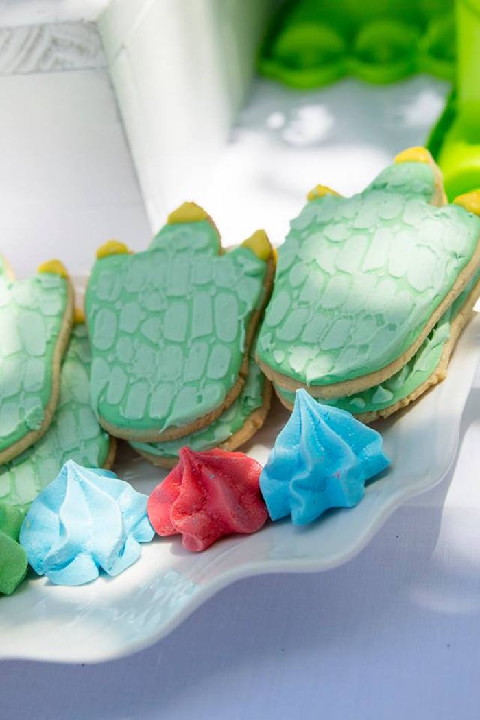 Dino Foot Cookies from a Dinosaur Birthday Party on Kara's Party Ideas | KarasPartyIdeas.com (36)