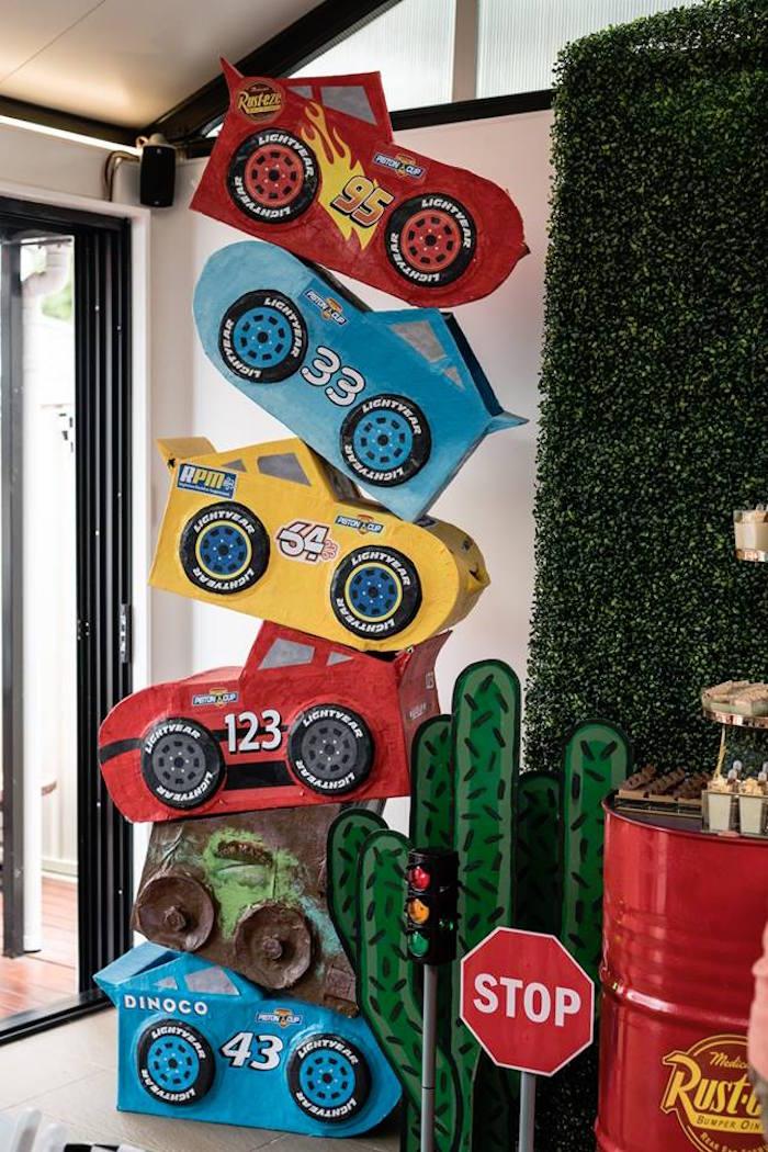 Stacked Cars Backdrop from a Disney Pixar Cars Birthday Party on Kara's Party Ideas | KarasPartyIdeas.com (15)