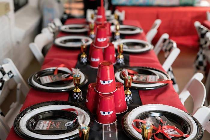 Lightning McQueen Kid Table from a Disney Pixar Cars Birthday Party on Kara's Party Ideas | KarasPartyIdeas.com (10)