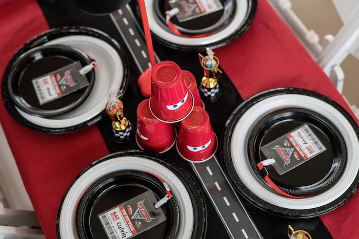 Stacked Lightning McQueen Cups + Roadway Runner from a Disney Pixar Cars Birthday Party on Kara's Party Ideas | KarasPartyIdeas.com (30)