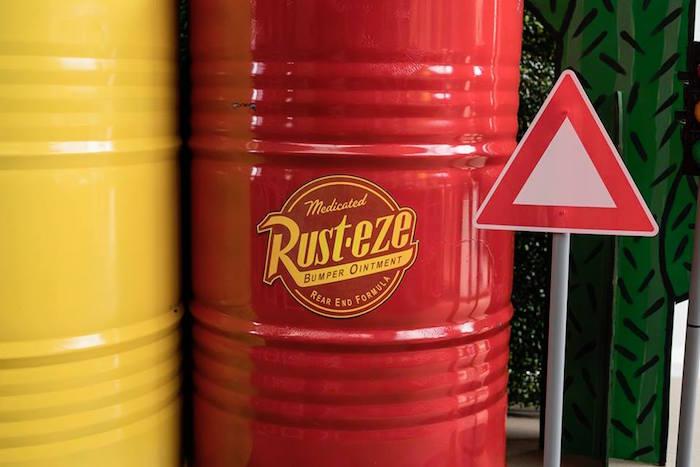 Rust-eze Barrel Table from a Disney Pixar Cars Birthday Party on Kara's Party Ideas | KarasPartyIdeas.com (26)