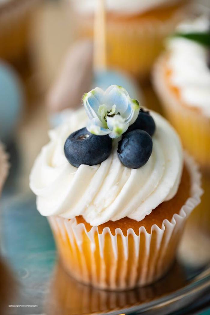 Flower & Blueberry-topped Vanilla Cupcake from an Elephant Baby Shower on Kara's Party Ideas | KarasPartyIdeas.com (24)