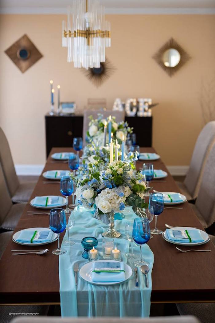 Blue + Green Dining + Guest Table from an Elephant Baby Shower on Kara's Party Ideas | KarasPartyIdeas.com (22)