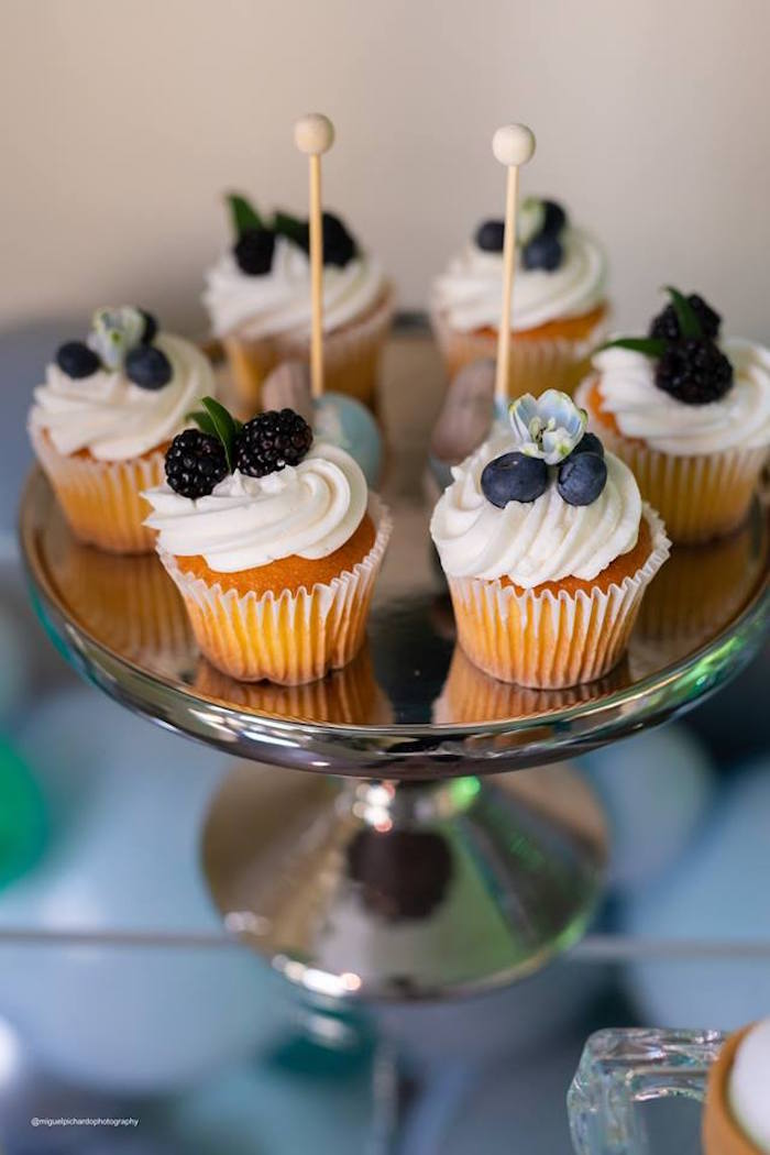 Vanilla Cupcakes topped with Berries + Blooms from an Elephant Baby Shower on Kara's Party Ideas | KarasPartyIdeas.com (21)