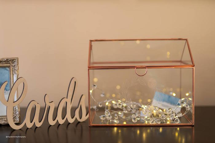 Modern Metal Card Box from an Elephant Baby Shower on Kara's Party Ideas | KarasPartyIdeas.com (20)