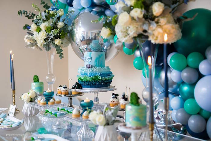 Baby Shower Dessert Table from an Elephant Baby Shower on Kara's Party Ideas | KarasPartyIdeas.com (19)