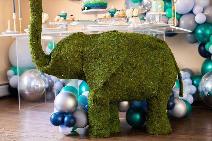 Giant Moss Elephant from an Elephant Baby Shower on Kara's Party Ideas | KarasPartyIdeas.com (15)