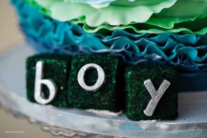 "Moss ""Boy"" Letter Block Letters from an Elephant Baby Shower on Kara's Party Ideas 