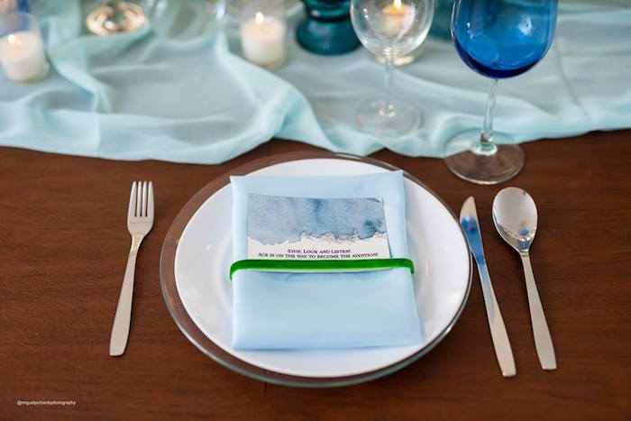 Blue + White Table Setting from an Elephant Baby Shower on Kara's Party Ideas | KarasPartyIdeas.com (11)