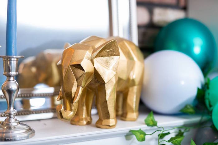 Geometric Gold Elephant from an Elephant Baby Shower on Kara's Party Ideas | KarasPartyIdeas.com (8)