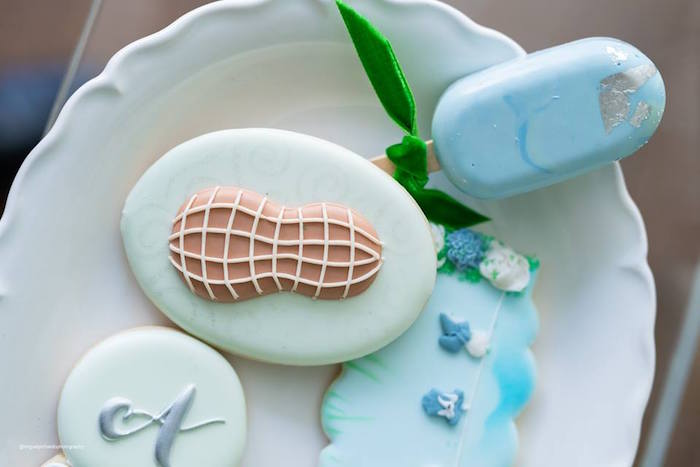 Peanut-adorned Sugar Cookie from an Elephant Baby Shower on Kara's Party Ideas | KarasPartyIdeas.com (7)