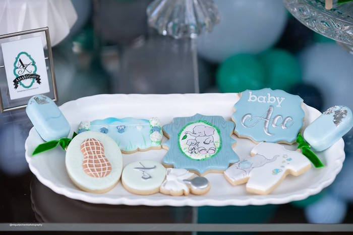 Elephant Themed Sugar cookies from an Elephant Baby Shower on Kara's Party Ideas | KarasPartyIdeas.com (32)