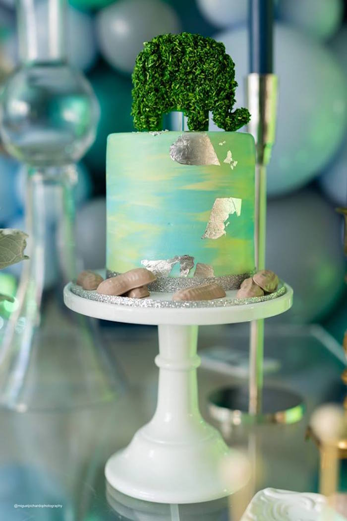 Green + Blue Watercolor Cake with Green Elephant Topper from an Elephant Baby Shower on Kara's Party Ideas | KarasPartyIdeas.com (31)