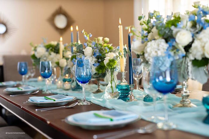Elegant Blue + Green Dining Table from an Elephant Baby Shower on Kara's Party Ideas | KarasPartyIdeas.com (28)