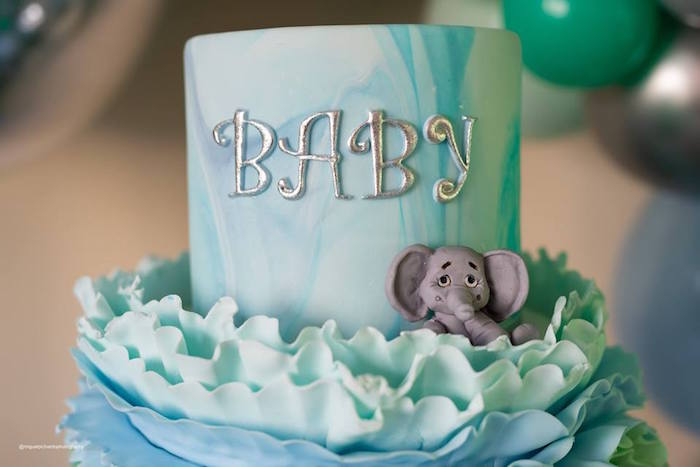Baby Elephant Ruffle Cake from an Elephant Baby Shower on Kara's Party Ideas | KarasPartyIdeas.com (26)