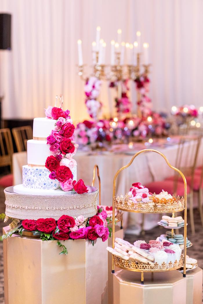 Pedestal Cake + Sweet Tables from an Enchanted Garden Tea Party on Kara's Party Ideas | KarasPartyIdeas.com (7)