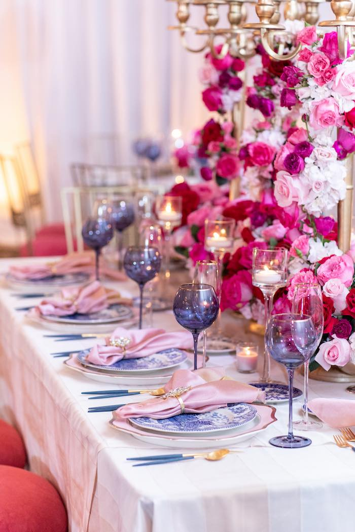 Elegant Blue + Pink Table Settings from an Enchanted Garden Tea Party on Kara's Party Ideas | KarasPartyIdeas.com (6)