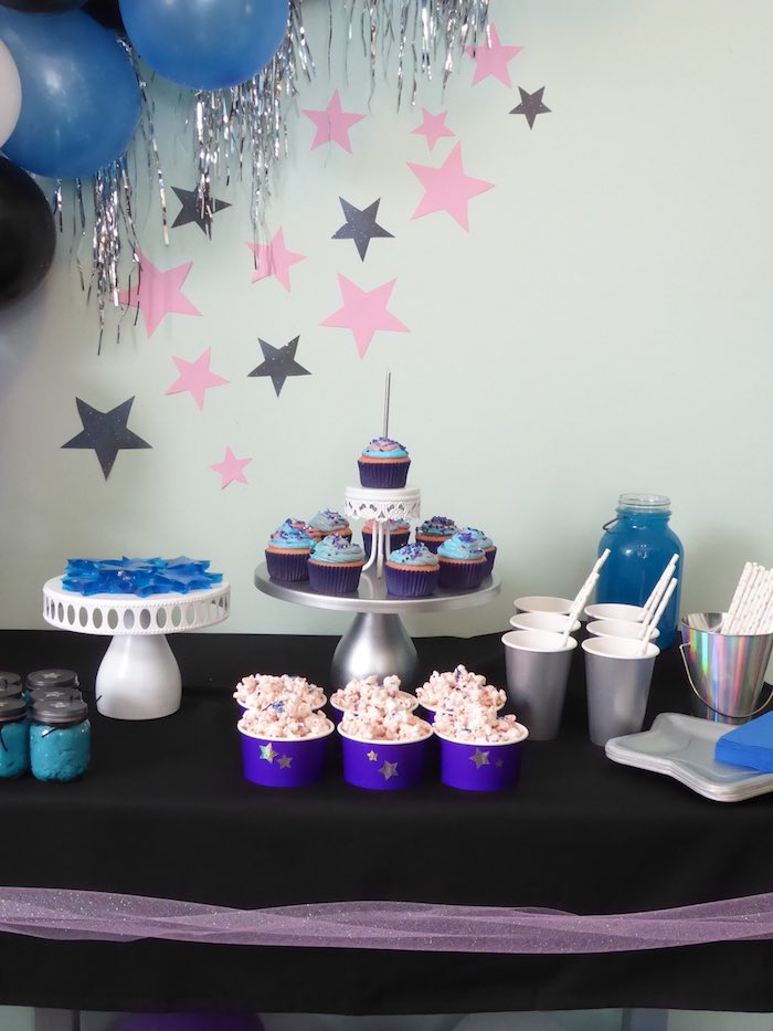 Galaxy Themed Dessert Table from a Twinkling Star Galaxy Party on Kara's Party Ideas | KarasPartyIdeas.com