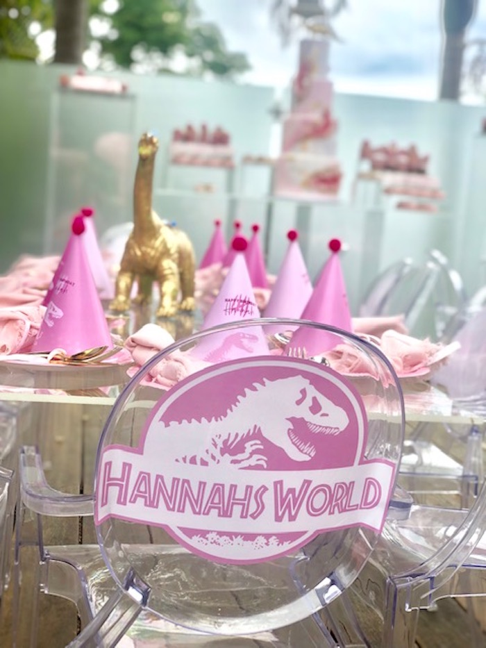 Pink Dinosaur Chair Signage from a Girly Jurassic World Birthday Party on Kara's Party Ideas | KarasPartyIdeas.com (12)