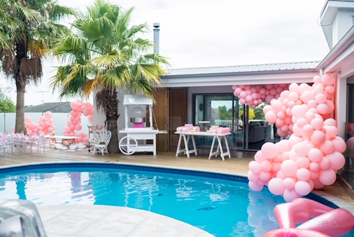 Poolside Partyscape from a Girly Jurassic World Birthday Party on Kara's Party Ideas | KarasPartyIdeas.com (8)