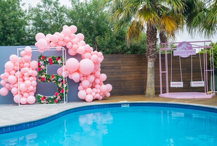 Floral Balloon Installation from a Girly Jurassic World Birthday Party on Kara's Party Ideas | KarasPartyIdeas.com (7)