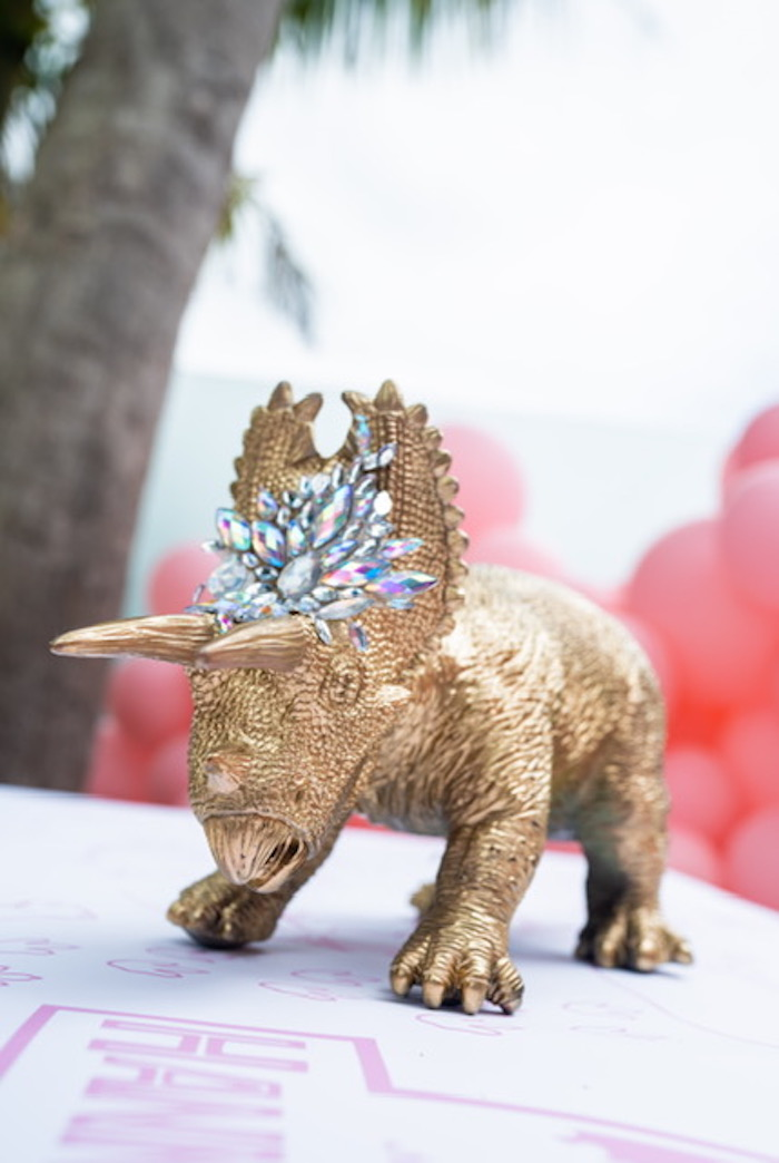 Gold Dinosaur Prop + Table Centerpiece from a Girly Jurassic World Birthday Party on Kara's Party Ideas | KarasPartyIdeas.com (20)